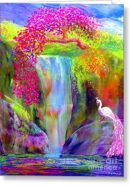 Waterfall And White Peacock, Redbud Falls Greeting Card by Jane Small