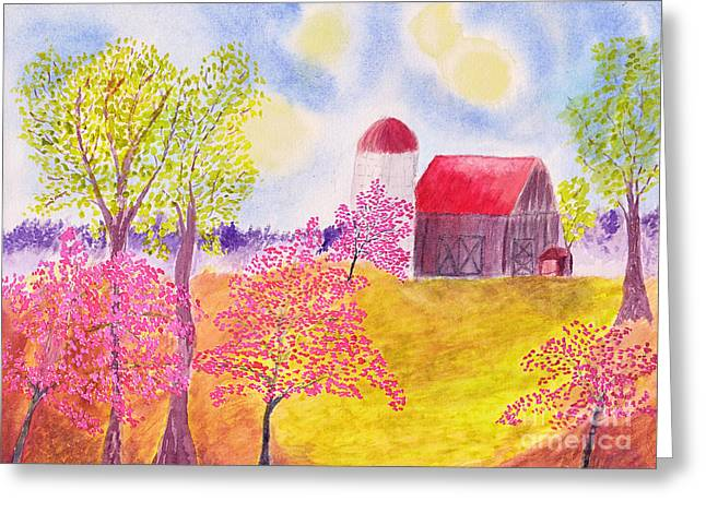 Old Barns Greeting Cards - Redbud Trees in Spring Farm Scene Greeting Card by Conni Schaftenaar Elderberry Blossom Art