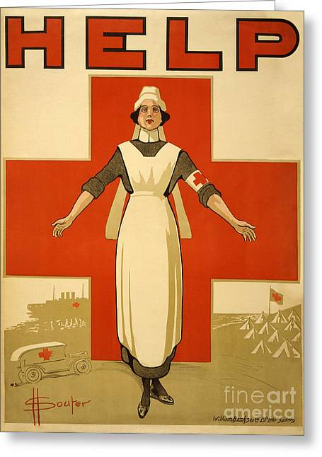 Marine Recruiting Greeting Cards - RedCrossNurse Marine Corps recruiting poster from World War II Greeting Card by Celestial Images