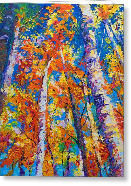 Bright Paintings Greeting Cards - Redemption - fall birch and aspen Greeting Card by Talya Johnson