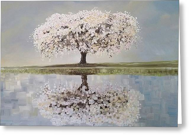 Cherry Blossoms Paintings Greeting Cards - Redemption Season Greeting Card by Deda Happel
