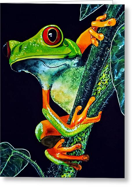 Redeyed Tree Frog Greeting Card by Debbie Chamberlin