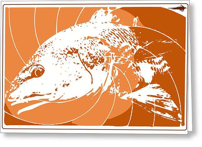 Florida Gators Mixed Media Greeting Cards - Redfish Fly Fishing Greeting Card by David Danforth