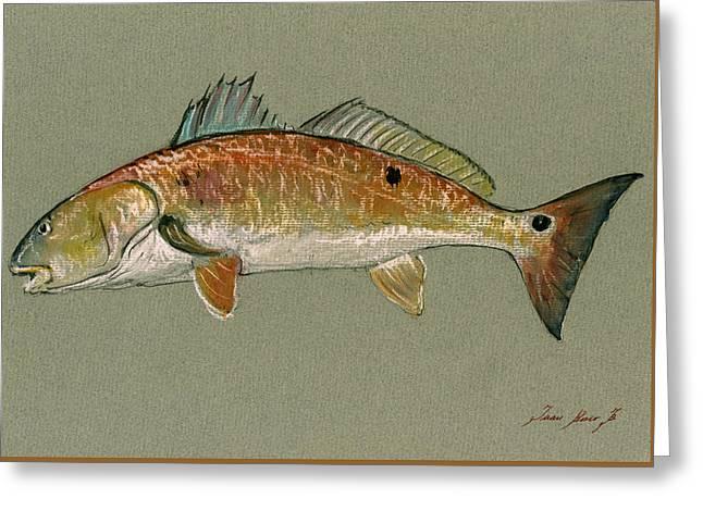 Saltwater Greeting Cards - Redfish watercolor painting Greeting Card by Juan  Bosco