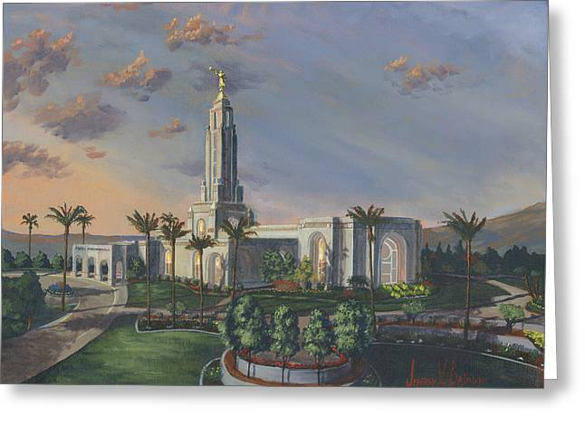 The Church Greeting Cards - Redlands Temple Greeting Card by Jeff Brimley