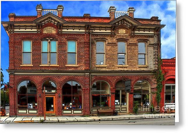 Brick Buildings Greeting Cards - Redmens Hall - Jacksonville Oregon Greeting Card by James Eddy