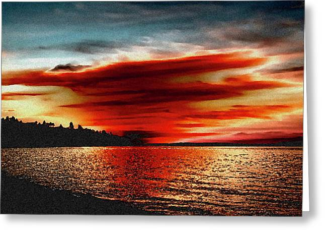 David Patterson Greeting Cards - Redondo Red Sunset Greeting Card by David Patterson