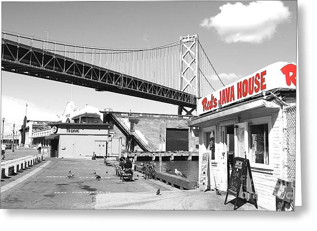 Home Decor Greeting Cards - Reds Java House and The Bay Bridge in San Francisco Embarcadero  Greeting Card by Home Decor