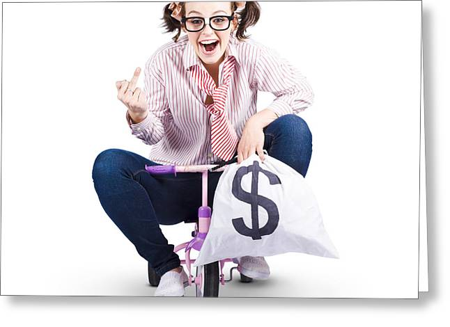 Payoff Greeting Cards - Redundant Business Girl Riding Off With Payout Greeting Card by Ryan Jorgensen