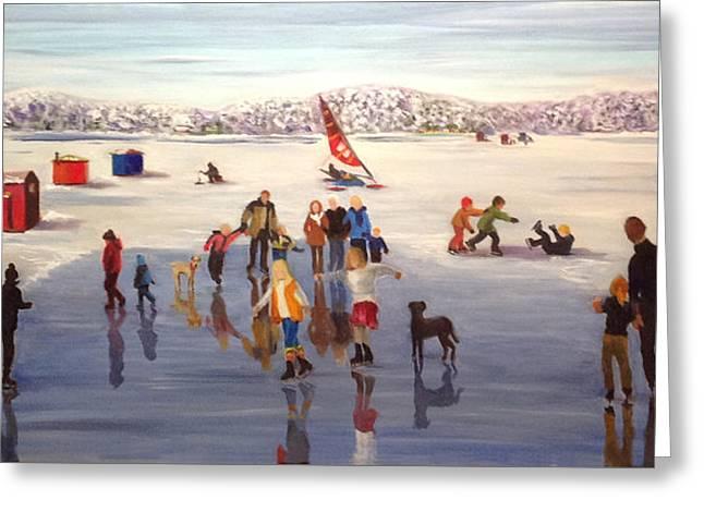Ice-skating Greeting Cards - Reeds Lake Winter Fun Greeting Card by Mary Marin