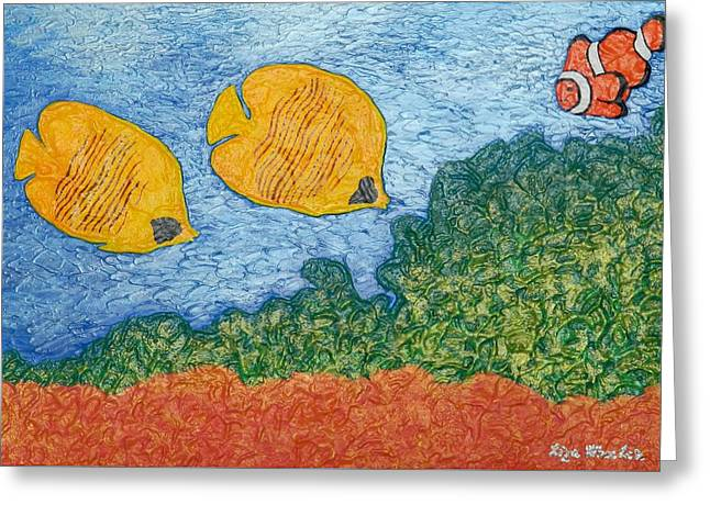 Aquatic Reliefs Greeting Cards - Reef Greeting Card by Liza Wheeler