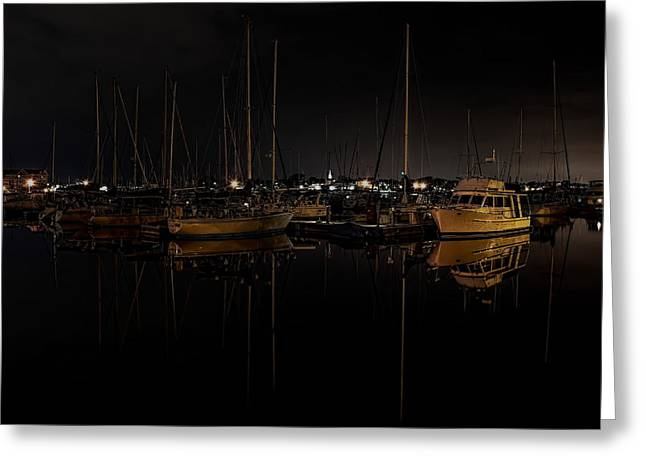 Sailboat Images Greeting Cards - Reefpoint Marina After Dark Greeting Card by Dale Kauzlaric