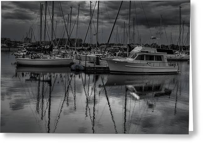 Sailboat Photos Greeting Cards - Reefpoint Marina Black and White Square Format Greeting Card by Dale Kauzlaric