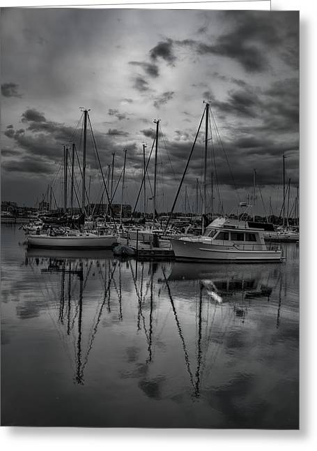 Sailboat Images Greeting Cards - Reefpoint Marina in Black and White Greeting Card by Dale Kauzlaric