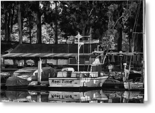 Docked Sailboat Digital Greeting Cards - Reel Time in BW Greeting Card by Patricia Stalter