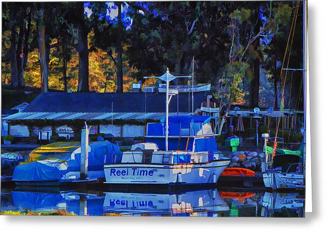 Morro Bay Ca Greeting Cards - Reel Time Greeting Card by Patricia Stalter
