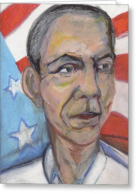 Barack Pastels Greeting Cards - Reelecting Obama in 2012 Greeting Card by Derrick Hayes
