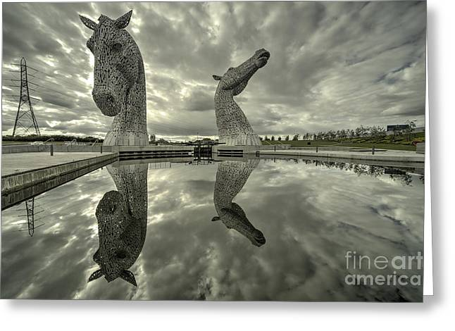 Stainless Steel Greeting Cards - Reflected Kelpies  Greeting Card by Rob Hawkins