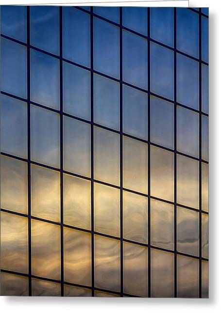 Reflections In Glass Greeting Cards - Reflected Sunset Greeting Card by Robert Ullmann