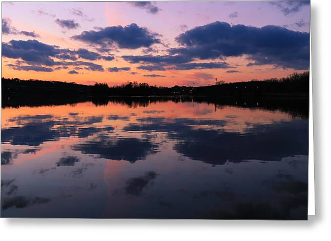 Reflections In River Greeting Cards - Reflecting Ann Arbor Greeting Card by Rachel Cohen