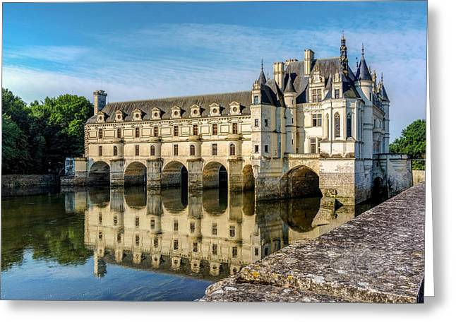 Reflecting Chateau Chenonceau In France Greeting Card by James Udall