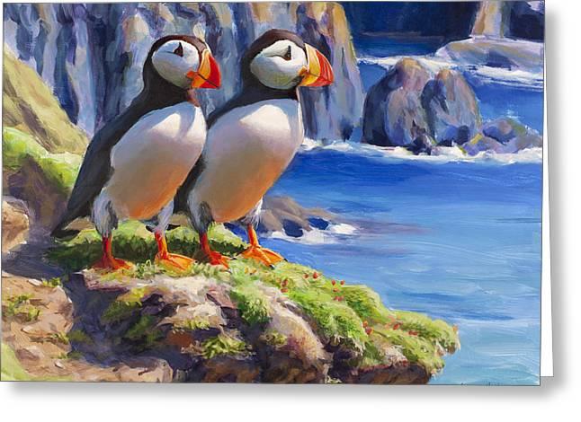 Seabirds Greeting Cards - Reflecting - Horned Puffins - Coastal Alaska Landscape Greeting Card by Karen Whitworth