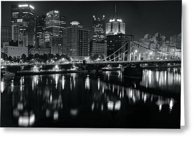 Reflecting In Black And White Greeting Card by Frozen in Time Fine Art Photography