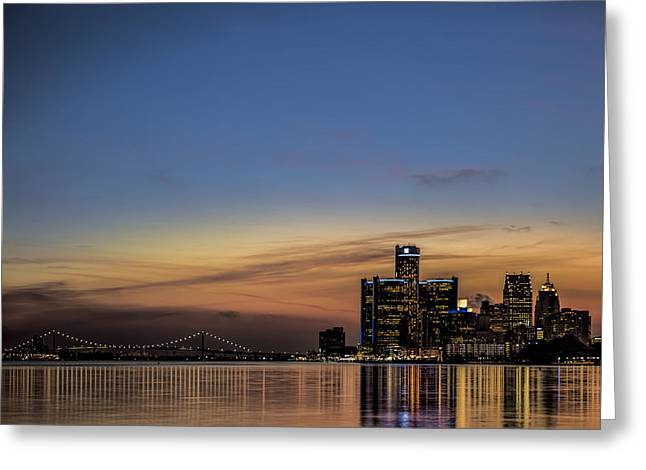 Reflecting On Detroit Greeting Card by Pat Eisenberger