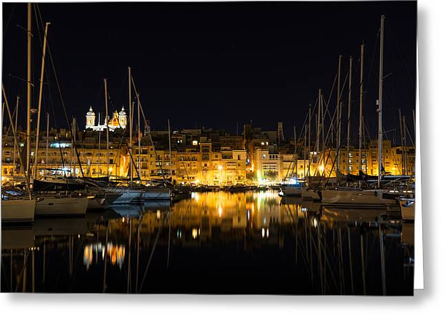 Reflecting On Malta - Senglea Golden Night Magic Greeting Card by Georgia Mizuleva