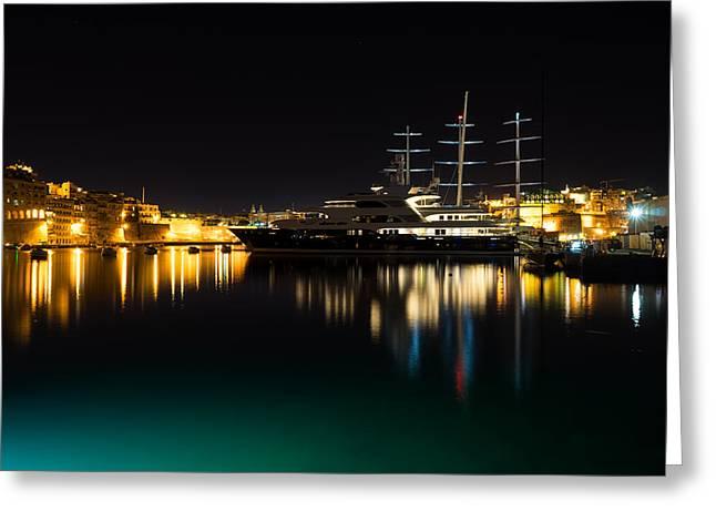Reflecting On Malta - Vittoriosa And Senglea Megayachts Greeting Card by Georgia Mizuleva