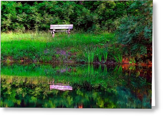 Oak Creek Greeting Cards - Reflecting on Oak Creek Pond Greeting Card by Theresa Campbell