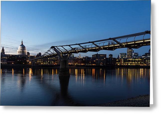 Gloaming Greeting Cards - Reflecting on Skylines and Bridges - London England UK Greeting Card by Georgia Mizuleva
