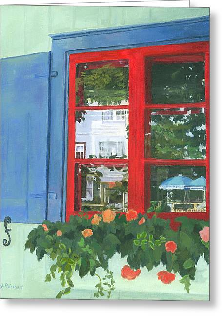 Flower Boxes Greeting Cards - Reflecting Panes Greeting Card by Lynne Reichhart