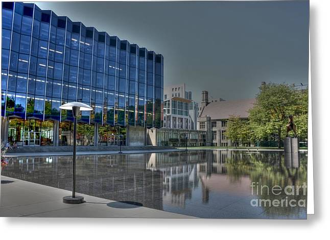 Obama Photographs Greeting Cards - Reflecting Pond U of C Law School Greeting Card by David Bearden