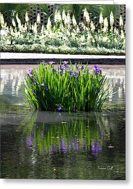 Iris Digital Art Greeting Cards - Reflecting Pond II Greeting Card by Suzanne Gaff