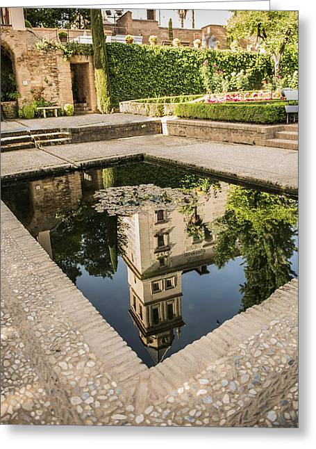 Reflecting Water Greeting Cards - Reflecting Pool - Alhambr Palace - Granada Spain Greeting Card by Jon Berghoff