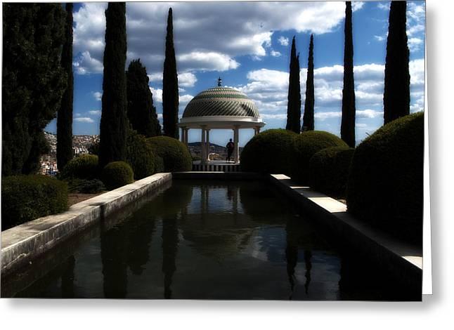 Malaga Greeting Cards - Reflecting Pool Greeting Card by Obi Martinez