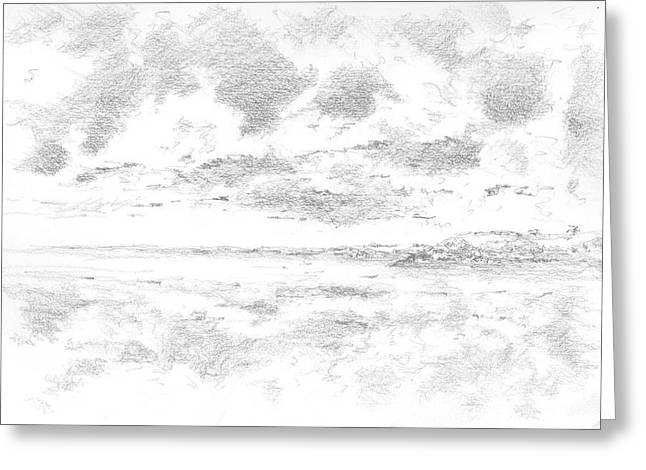 Ocean. Reflection Drawings Greeting Cards - Reflection Greeting Card by Al Cazu Alan Williamson