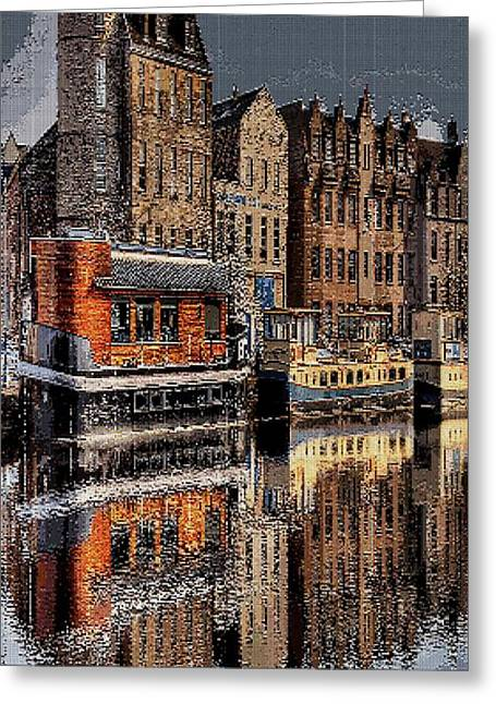 Tetris Block Greeting Cards - Reflection Bay Greeting Card by Jacquin