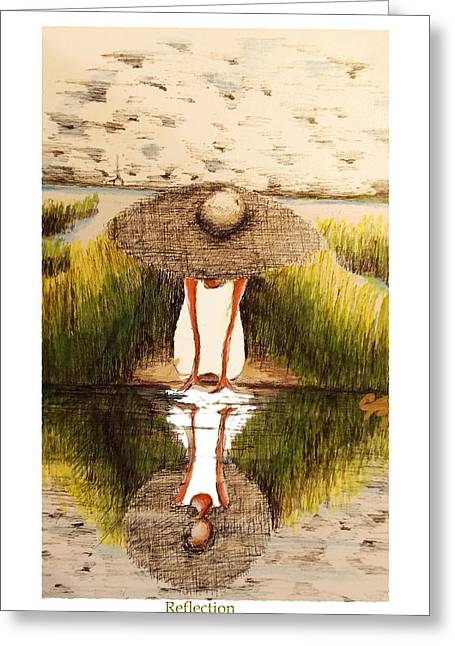 Country Church Mixed Media Greeting Cards - Reflection Greeting Card by C F  Legette