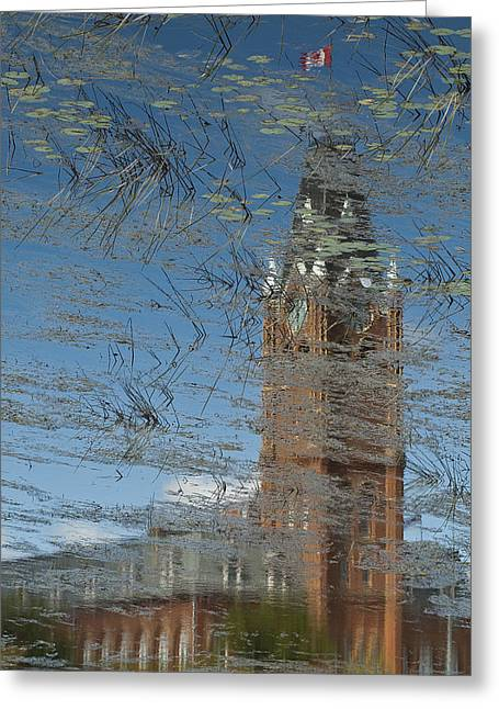 Lilly Pad Greeting Cards - Reflection City Hall Greeting Card by Michael Rutland