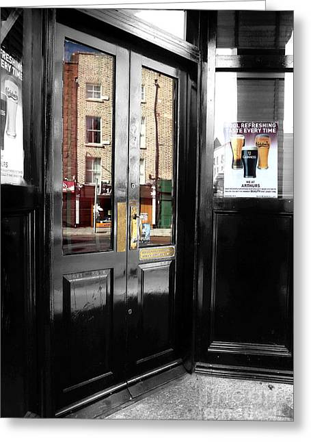 Reflections In Glass Greeting Cards - Reflection in Dublin Fusion Greeting Card by John Rizzuto