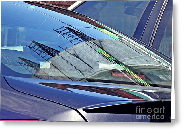Reflection In Traffic 4 Greeting Card by Sarah Loft
