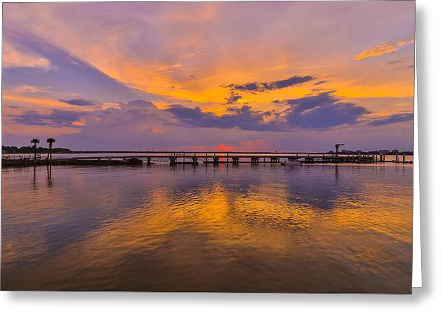 Docked Boat Greeting Cards - Reflection - James Island SC Greeting Card by Donnie Whitaker