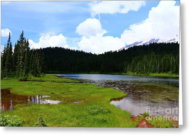 Mountain Reflection Lake Summit Mirror Greeting Cards - Reflection Lakes  - Mount Rainier Greeting Card by Christiane Schulze Art And Photography