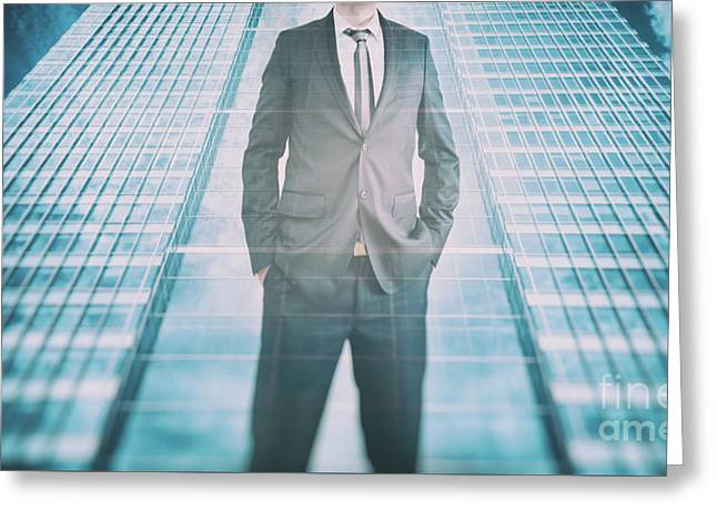 Reflection Of A Businessman In Modern Skyscraper. Business Leader, Career Growth Greeting Card by Michal Bednarek