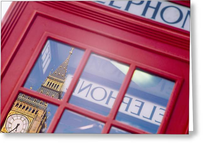 Telephone Booth Greeting Cards - Reflection Of A Clock Tower Greeting Card by Panoramic Images