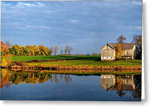 Fall Trees Greeting Cards - Reflection of an Autumn Barn Greeting Card by Matt Hammerstein