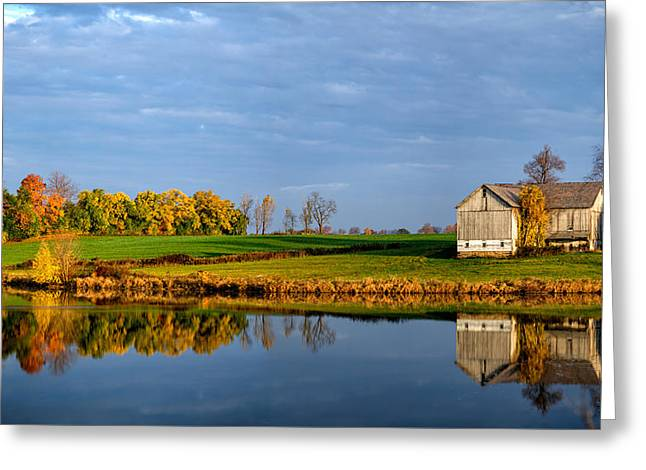 Woodland Scenes Greeting Cards - Reflection of an Autumn Barn Greeting Card by Matt Hammerstein