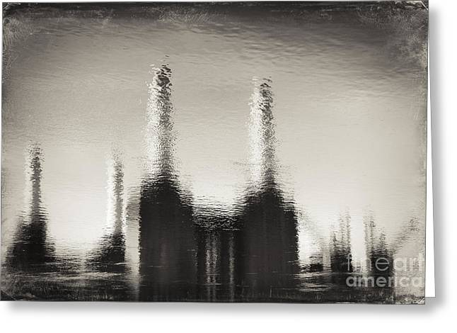 Reflecting Water Greeting Cards - Reflection of Battersea Power Station in London #2 Greeting Card by A Cappellari
